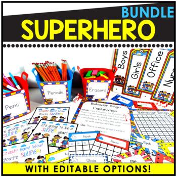 Editable Superhero Theme Decor ~ 400 Pages of Superhero Decor!