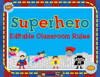 Superhero Themed Editable Classroom Rules