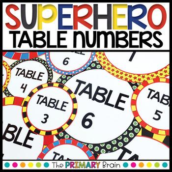 Superhero Themed Editable Table Numbers