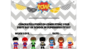 Superhero Themed First Day of School Certificate