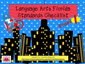Superhero Themed First Grade Language Arts Florida Standards Checklist