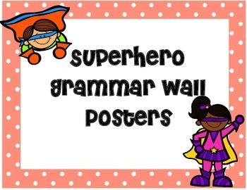 Superhero Themed Grammar Wall Posters