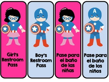 Superhero Themed Restroom Hall passes in English and Spanish