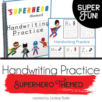 Superhero Themed Handwriting Practice Sheets