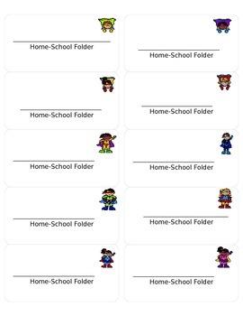 "Superhero-Themed Home-School Folder Labels 2x4"""