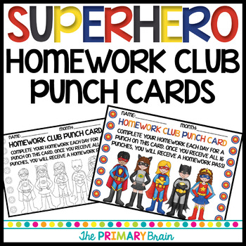 Superhero Themed Homework Club Punch Card