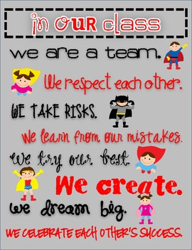"""Superhero Themed """"In Our Class"""" Rules"""