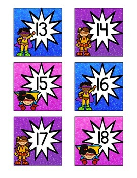 Superhero-Themed January Calendar Cards