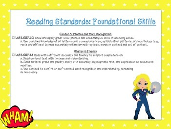 Superhero Themed Language Arts FL Standards Checklist Fifth Grade