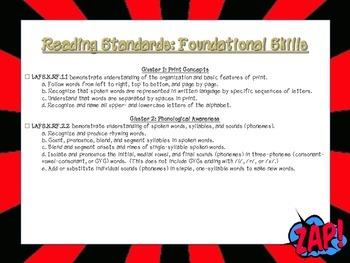 Superhero Themed Language Arts FL Standards Checklist Kindergarten