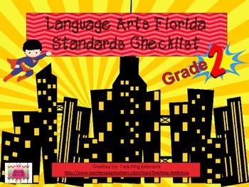 Superhero Themed Language Arts FL Standards Checklist Second Grade