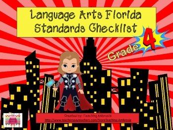 Superhero Themed Language Arts Florida Standards Checklist Fourth Grade