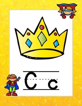 Superhero-Themed Lined Alphabet
