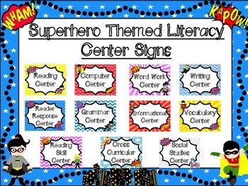 Superhero Themed Literacy Center Signs
