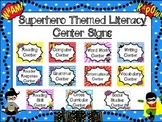 Literacy Center Signs: Superhero Themed