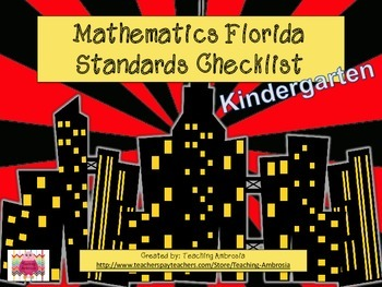 Superhero Themed Math FL Standards Checklist Kindergarten