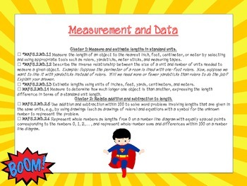 Superhero Themed Math FL Standards Checklist Second Grade