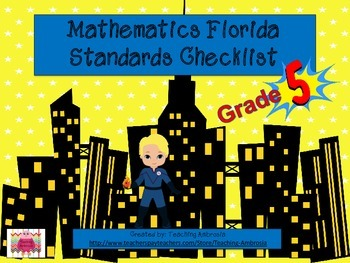Superhero Themed Math Florida Standards Checklist Fifth Grade