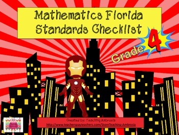 Superhero Themed Math Florida Standards Checklist Fourth Grade