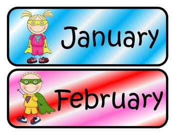 Superhero Themed Monthly Calendar Headers