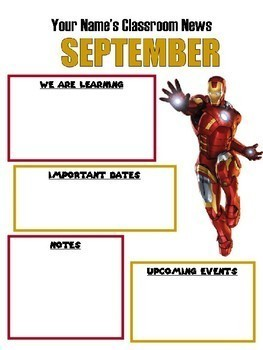 Superhero Themed Monthly Newsletters