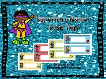 Superhero Themed Name Tags