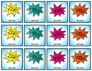 Superhero Themed Name Tags / Labels