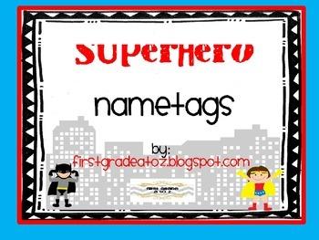 Superhero Themed Nametags Editable
