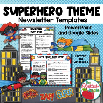 Superhero Themed Newsletter Templates By The Knitted Apple Tpt