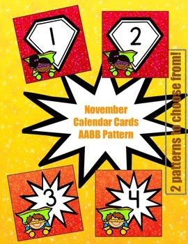 Superhero-Themed November Calendar Cards