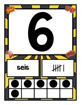 Superhero Themed Number Card Posters from 1-20 Spanish Version