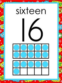 Superhero Classroom Theme- Number Posters 0-20 with 10 frame