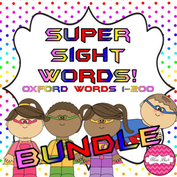Superhero Themed Oxford Sight Word Game BUNDLE (Words 1-200)