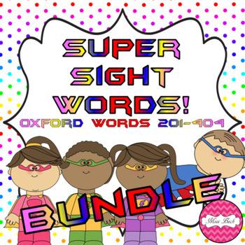 Superhero Themed Oxford Sight Word Game BUNDLE (Words 201-404)