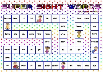 Superhero Themed Oxford Sight Word Game (Words 41-80)