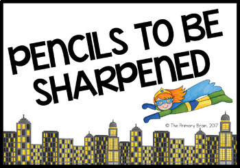 Superhero Themed Pencil Sharpened and Unsharpened Labels/Signs