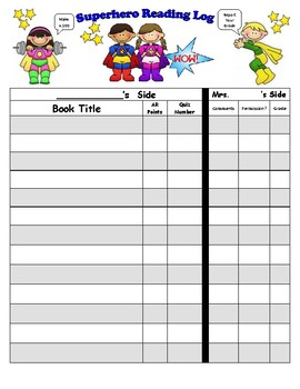 Superhero Themed Reading Log