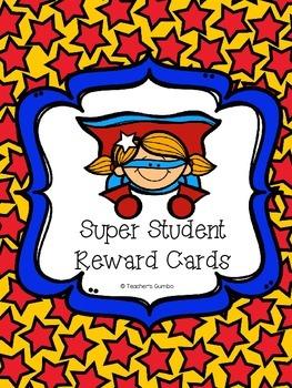 Superhero Themed Reward Cards