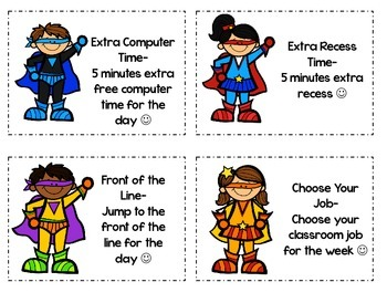 Superhero Themed Reward Coupons
