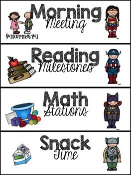 Superhero Themed Schedule Cards