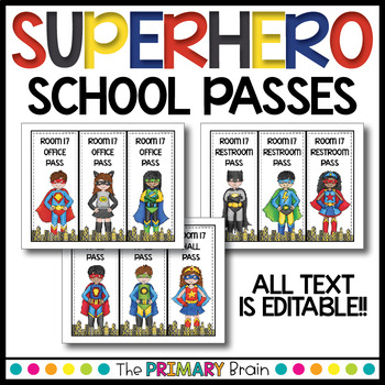 Superhero Themed School Passes for Restroom, Nurse, Office, and more!