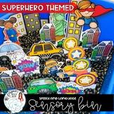 Superhero Themed Sensory Bin for Speech and Language Skills