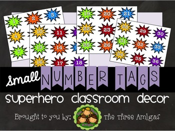 Superhero Themed Small Number Tags