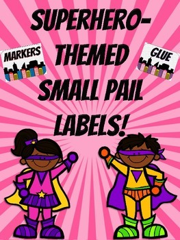 Superhero Themed Small Pail Labels