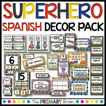 Superhero Themed Spanish Classroom Decor Pack BUNDLE