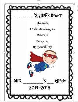 Superhero Themed Student Binder Cover