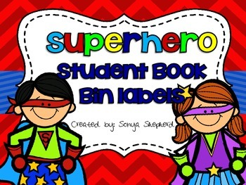 Superhero Themed Student Book Bin Labels