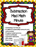 Superhero Themed Subtracting from 20  Mad Math Minute