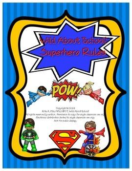 Superheroes Superman Super Rules Sign Print Set