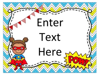 Superhero Themed Team Posters {Editable}